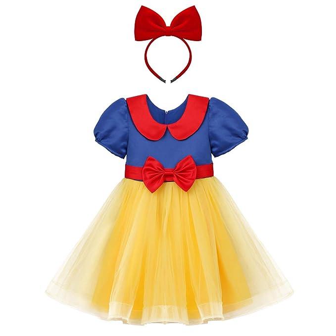 OBEEII Niñas Blancanieves Princesa Vestido Cosplay para Ceremonia Desfile Holloween Navidad Festival Carnaval Fiesta Cumpleaños 2-9 años