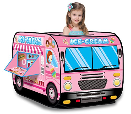 Ice Cream Truck Princess Pink Pop Up Play Tent - Foldable Indoor/Outdoor Playhouse for Kids by Liberty Imports
