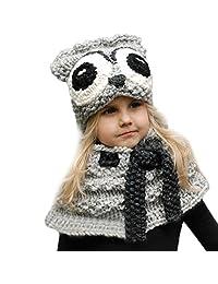 Baby Scarves Beanies, Perman Kids Warm Winter Hat Crochet Knitted Hood Scarf (F)