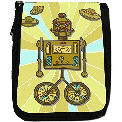 Shoulder Medium Canvas Clockwork Retro Robot Size Black Alien Hipster Bag Robots q7wwFO6