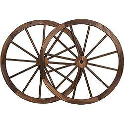 Trademark Innovations Decorative Vintage Wood Garden Wagon Wheel with Steel Rim-31.5 Diameter (Set of 2)