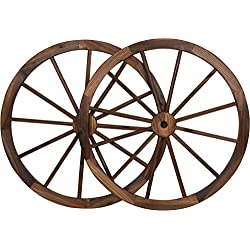 "Trademark Innovations Decorative Vintage Wood Garden Wagon Wheel steel Rim - 30"" Diameter (Set of 2)"