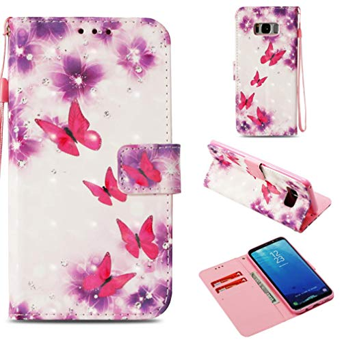 Galaxy S8 Plus Case,Anti-Scratch Full Cover Pu Leather Wallet Case Dust Proof with Inner Bumper Credit Card Holder with Wrist Strap Kickstand Case for Samsung Galaxy S8 Plus -Butterfly Pink (Slime Cell Phone Strap)