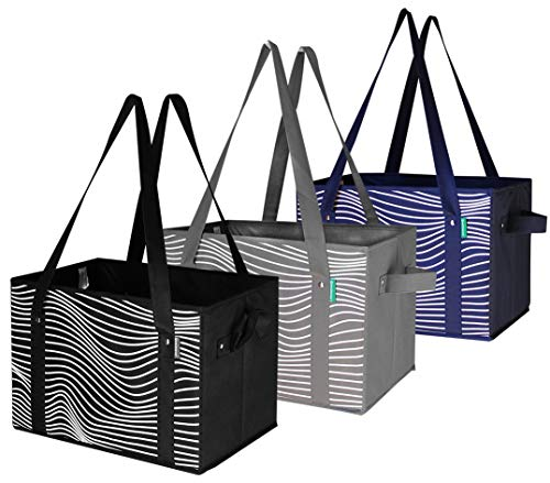 Reusable Grocery Bags Set Shopping Box with Reinforced Bottom Heavy Duty Collapsible Storage Boxes Bins Cubes (Set of 3) ()