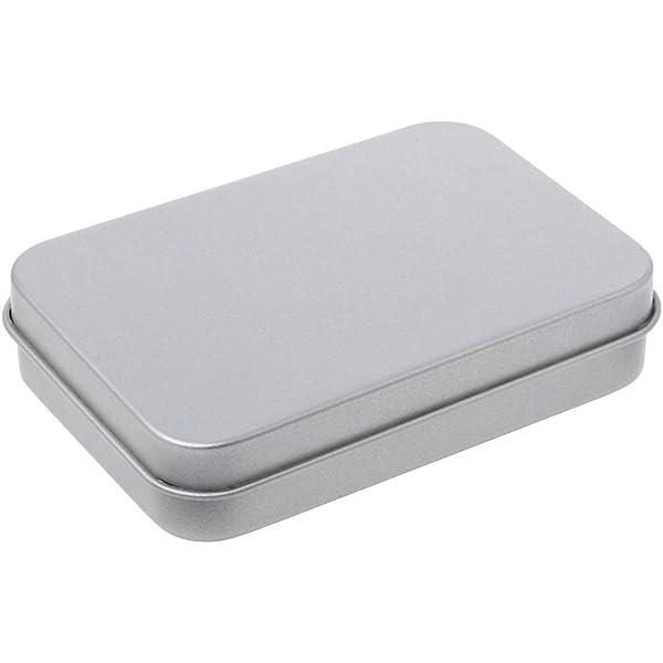 Ogquaton Contenedores met/álicos de esta/ño Plateado Caja peque/ña Caja de Almacenamiento port/átil Organizador de la Caja Almacenamiento en el hogar Durable y pr/áctico