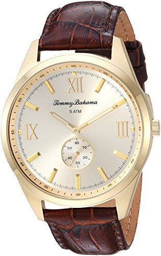 Tommy Bahama Men's Quartz Stainless Steel and Leather Casual Watch, Color:Black (Model: TB00015-05)
