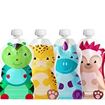 ChooMee Snackn Reusable Food Pouch - 4 CT   5 oz.   Soft Pouch + Zero Leak Zipper   Enhance their Feeding Experience with Vibrant Colors and Fun Animal Characters