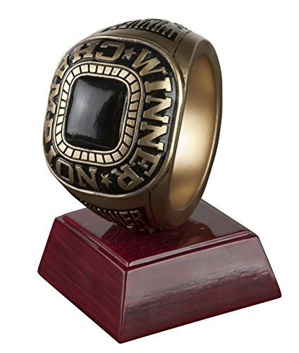 Championship Ring Trophy/ Fantasy Football FFL Resin Award / Basketball / Baseball / Soccer / Winner Victory - Engraved Plate Upon Request - Decade Awards (Trophies Football Resin)