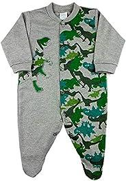 Macacão Bebê Suedine Estampado Dinossauro – Mescla