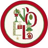 3 Feet Round Hooked Rug, Noel, Christmas