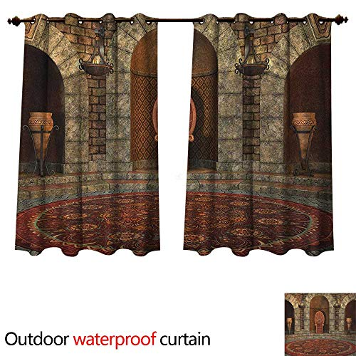 - Anshesix Gothic Outdoor Ultraviolet Protective Curtains Throne of King in Vintage Style Palace Chandelier Medieval Architecture Theme W120 x L72(305cm x 183cm)