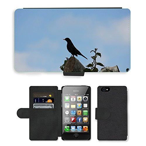 Just Phone Cases PU Leather Flip Custodia Protettiva Case Cover per // M00128692 Perche perché arbre aux oiseaux // Apple iPhone 4 4S 4G