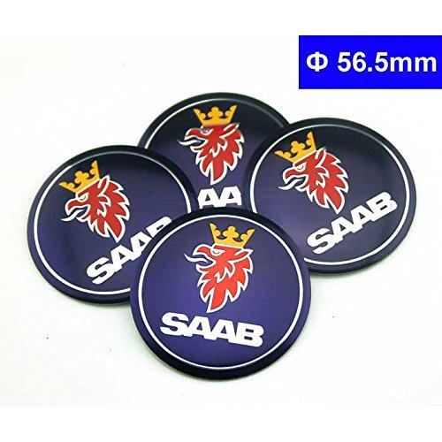 (4pcs C026 56.5mm Car Styling Accessories Emblem Badge Sticker Wheel Hub Caps Centre Cover SAAB Vector Linear Aero)
