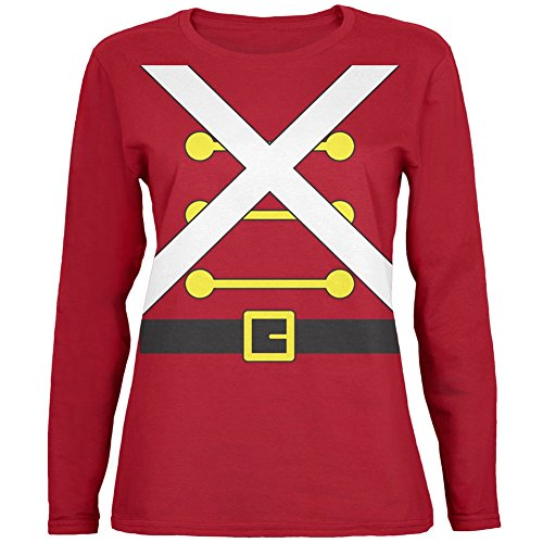 Christmas Toy Soldier Costume Red Womens Long Sleeve T-Shirt - Large (Christmas Toy Soldier)