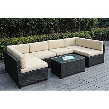 Ohana Mezzo 7 Piece Outdoor Wicker Patio Furniture Sectional Conversation  Set, Black Wicker With