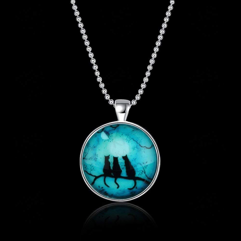 Women Elegant Men's Luminous Necklace Crystal Glass Creative owl Pendant European and American Fashion Jewelry