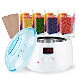 Wax Warmer Hair Removal Waxing Kit, Lavany Digital LCD Display Wax Pot with Precision Temperature Control (86°F - 275°F), with 4 Flavor Hard Wax Beans & 10 Wax Applicator Sticks