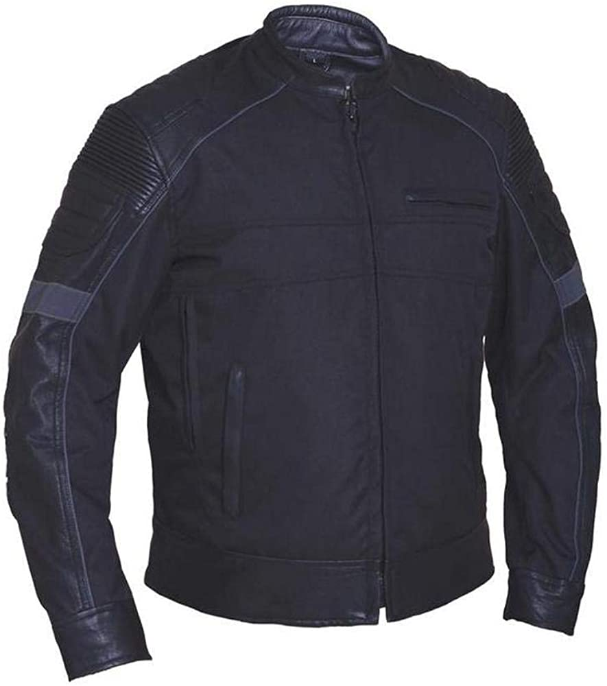 2XL Revolution Gear Mens Leather//Nylon Motorcycle Jacket,Black,Size