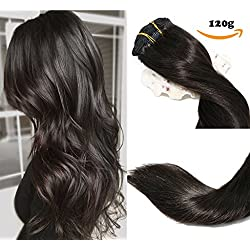 Clip In Hair Extensions Human Hair New Version Thickened Double Weft Brazilian Hair 120g 7pcs Per Set Remy Hair Natural Black Full Head Silky Straight 100% Human Hair Clip In Extensions(18 Inch #1B)