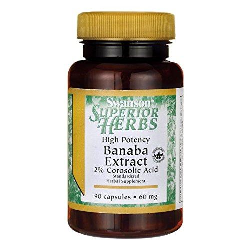 Swanson High Potency Banaba Extract 2% Corosolic Acid 60 Milligrams 90 Capsules (Extract Banaba Leaf)