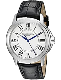 Men's 5576-ST-00300 Tradition Stainless Steel Case Black Leather Strap with Crocodile Pattern Watch