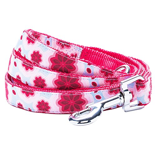 "Blueberry Pet 3 Patterns Durable Vibrant African Pink Floral Dog Leash 5 ft x 3/4"", Medium, Leashes for Dogs"