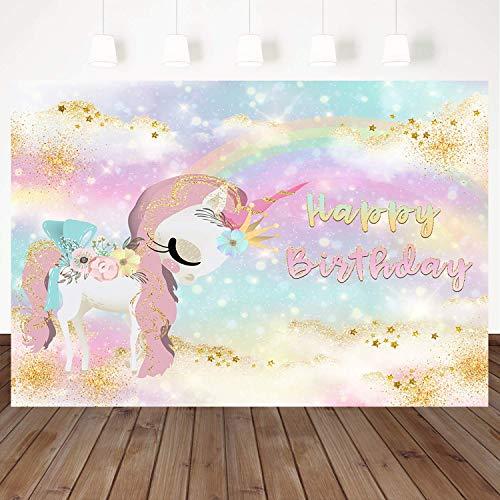 Mehofoto Unicorn Backdrop Gold Glitter Star Rainbow Background 7x5ft Happy Birthday Watercolor Vinyl Photography Background Birthday Party Banner Decoration ()