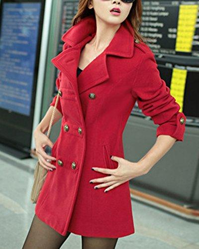 Coat Jacket Mujer Abrigo Trench Chaqueta Botones Rojo Doble Larga ZhuiKun Manga Solapa zwfgOTxpq