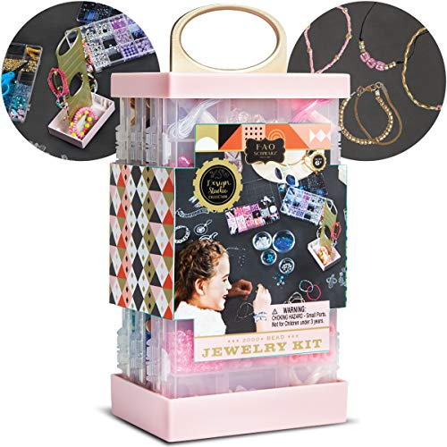 (FAO Schwarz Design Studio Collection: 2000+ Bead Jewelry Making Kit with Display Stand)
