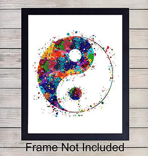 Yin Yang Zen Watercolor Art Print - 8x10 Unframed Photo - Perfect Gift for Meditation, Yoga and Zen Enthusiasts - Chic Home or Studio Decor ()