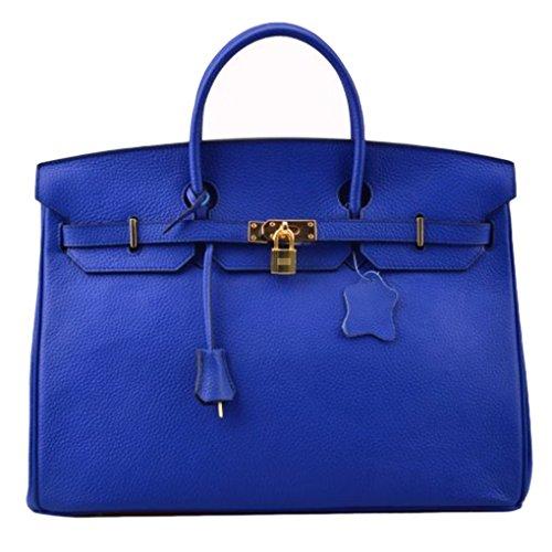- Bequeen Womens New Designer Litchi Pattern Full Grain Leather Handbags Office Handbags (Big (35cm), Deep blue)
