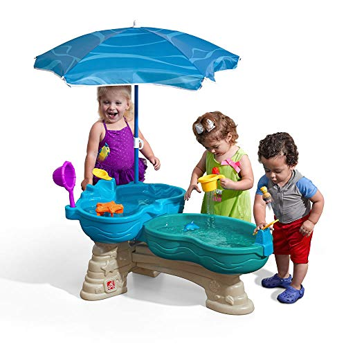 (Step2 Spill & Splash Seaway Water Table | Kids Dual-Level Water Play Table with Umbrella & 11-Pc Accessory Set | Large Water Table)