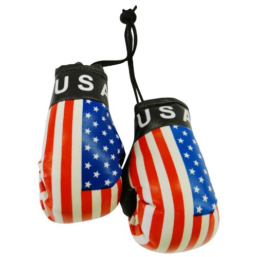 Flag Boxing Gloves - USA Country Flag Mini Boxing Gloves to Hang Over Your Automobile Mirror .United States New