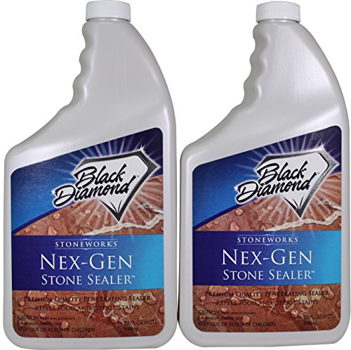 Black Diamond Nex-Gen Natural Stone Penetrating Sealer: Seals & Protects; Granite, Marble, Travertine, Limestone, Concrete, Grout, Tile, Brick, Block & Slate Floors, Patios and Fireplaces. 2-Quarts Stone Tile Fireplace