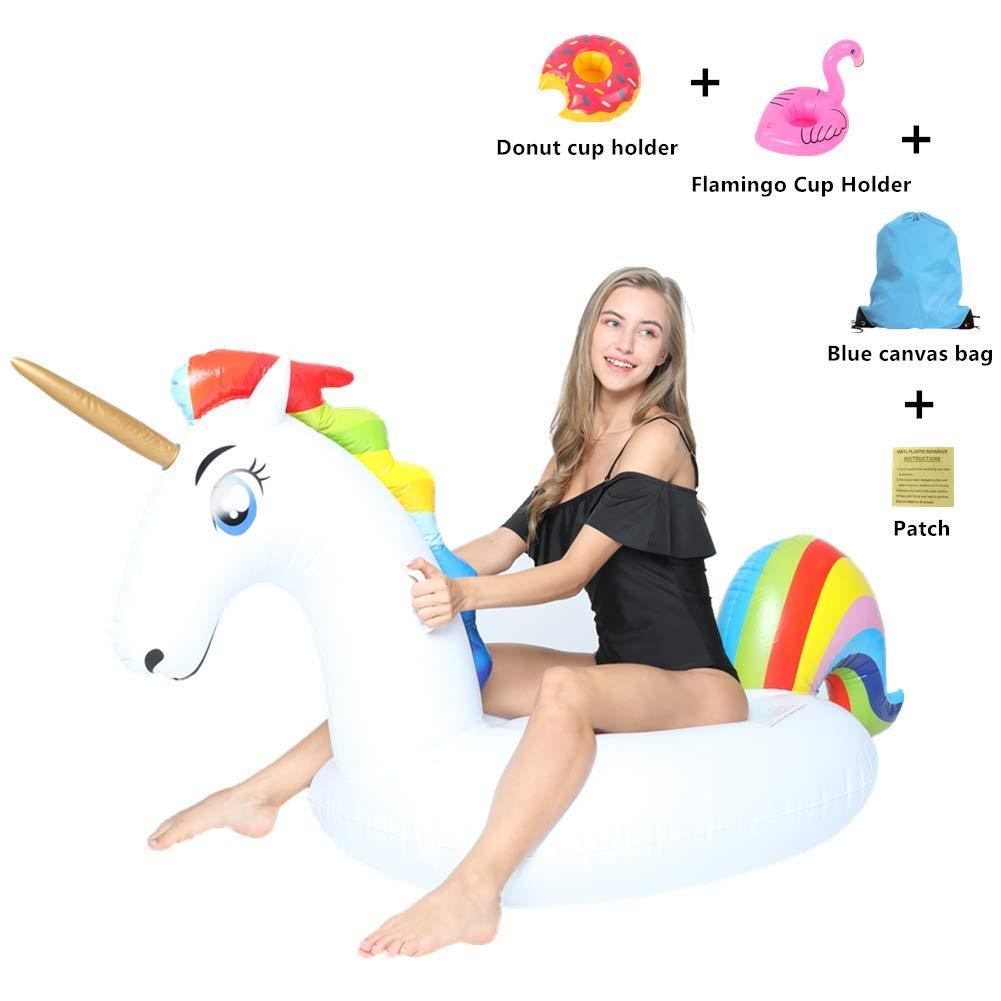 SanXingRui Unicornio Hinchable, Flotante Gigante del Unicornio Piscina Cama Flotante Unicorn Kids, la Fiesta Piscina de Playa de Verano Adultos y ...