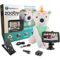 "Infanttech Wireless Zooby 4.3"" Portable Video and Audio Baby Monitor for Car, Home, Nursery, Backyard – Placed in a Cuddly Plush Toy Kids Love, Gives You Eyes in the Back of Your Head, Unicorn"