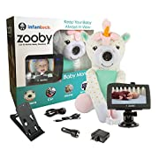 """Infanttech Wireless Zooby 4.3"""" Portable Video and Audio Baby Monitor for Car, Home, Nursery, Backyard – Placed in a Cuddly Plush Toy Kids Love, Gives You Eyes in the Back of Your Head, Unicorn"""