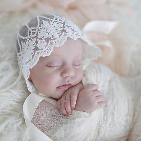 Cute Soft dzsntsmgs Baby Infant Newborn Girls Kids Lace Floral Hat Cap Beanie Bonnet Cotton Hat Comfortable Warm Keeper Hat White Lace Photography Prop