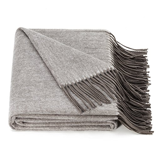 spencer & whitney Natural Throw Blanket Reversible All Season Wool Blanket Lightweight Warm ()