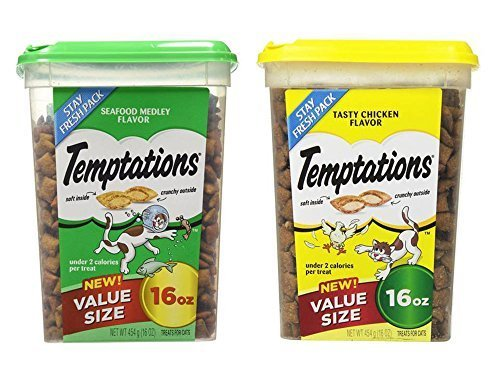 Value Size Temptations Treats for Cats Bundle: Seafood Medley Flavor (16 oz) and Tasty Chicken Flavor (16 oz) by Mars Petcare