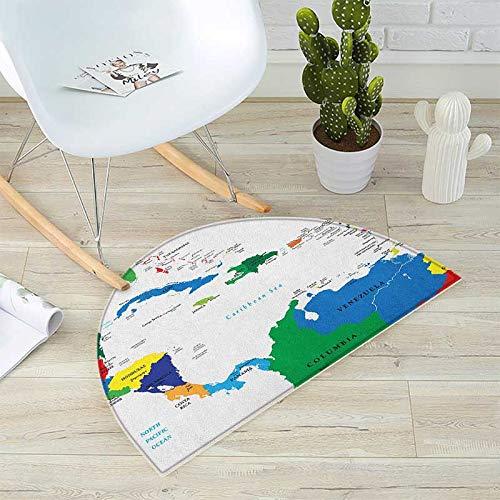 地図 半円形 クッション クッション ブルー 水彩スタイル 世界地図 51.1