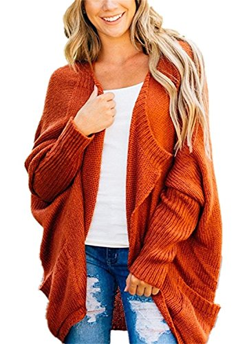 Womens Oversized Open Front Cardigans Long Dolman Sleeve Cable Knit Loose Irregular Sweaters with Pockets