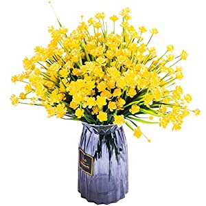 Foraineam 10 Bundles Yellow Daffodils Artificial Flowers Fake Plants Plastic Bushes Greenery Shrubs Fence Indoor Outdoor Hanging Planter Home Garden Decor 35