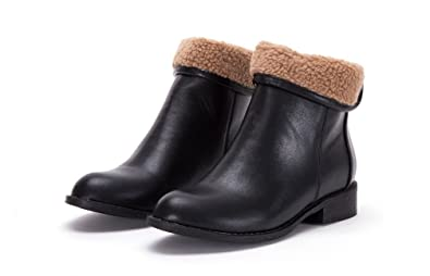 best sell low price delicate colors Ladies Womens Black Tan Shearling Faux Fur Trim Flat Zip Ankle ...