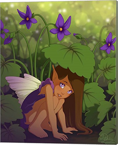 Shy Violet - Shy Violet by Dalliann Canvas Art Wall Picture, Museum Wrapped with Sage Green Sides, 16 x 20 inches