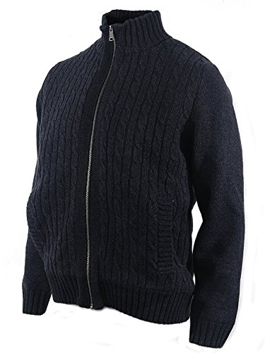 - Boston Traders Men's Cable Knit Sweater with Sherpa Lining. (XX-Large, Charcoal)