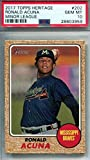 #5: 2017 Topps Heritage Minor League - Ronald Acuna - Atlanta Braves Prospect Baseball Rookie Card - Graded PSA 10 GEM MINT - RC #202