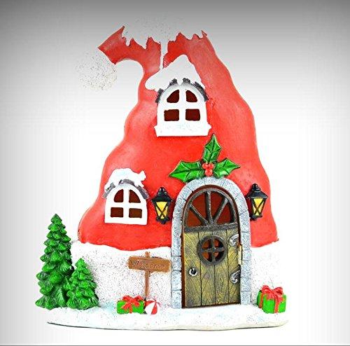 (Fairy Garden Fun Christmas Santa Hat House LED Lighted Miniature - My Mini Fairy Garden Dollhouse Accessories for Outdoor or House Decor)