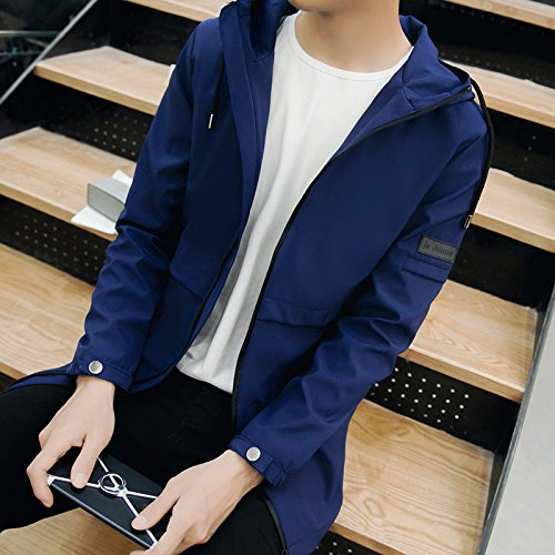 Lunghe Scuro Giacca Coreana Camicia La Cappuccio Versione In Sau A Di 1880 Con Maniche marea Blu Primavera Uomo Xxxxl Casual TxBnwwgO8