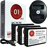 DOT-01 3x Brand Canon EOS 4000D Batteries and Dual Slot USB Charger for Canon EOS 4000D DSLR and Canon 4000D Battery and Charger Bundle for Canon LPE10 LP-E10